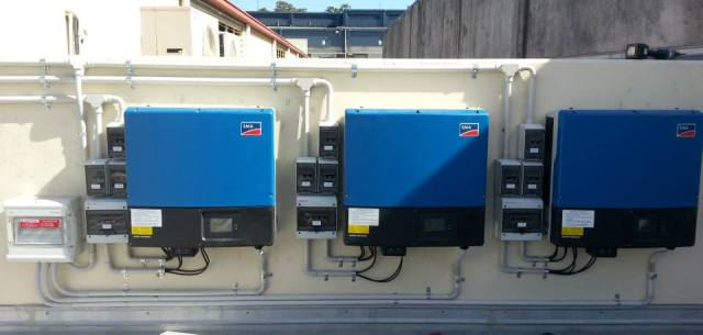 Commercial tri power installation with 30kW of panels