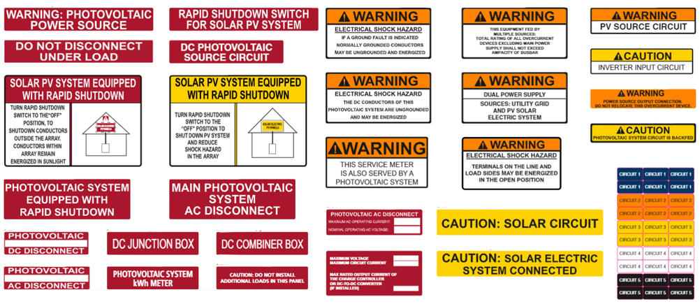required Solar labels for  your system to meet standards