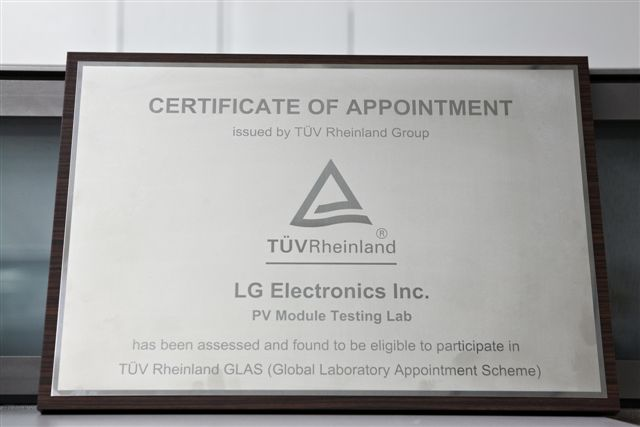 TUV solar testing participation certificate