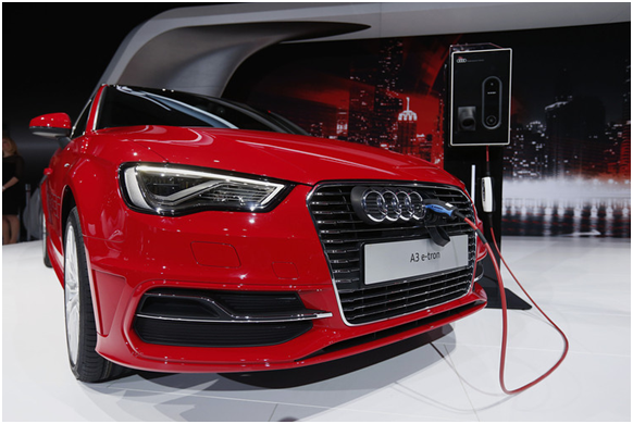 An Audi A3 e-tron hybrid vehicle at the New York auto show in April.