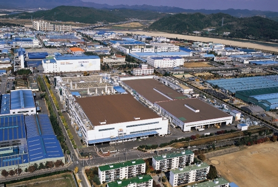 Gumi solar factory in foreground