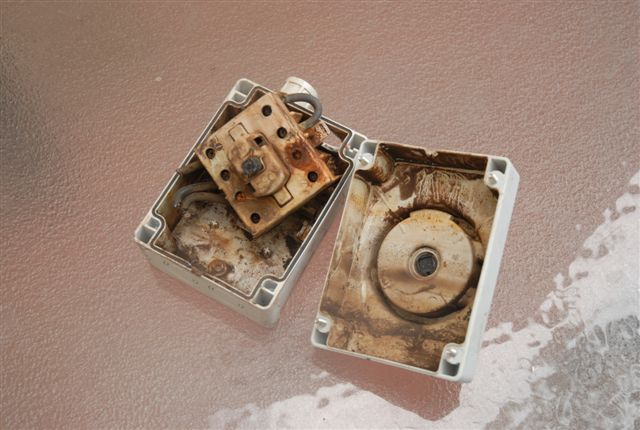 Water damage to solar cut off switch